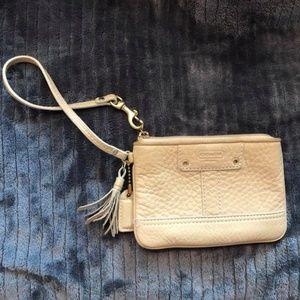 Coach leather mini wristlet